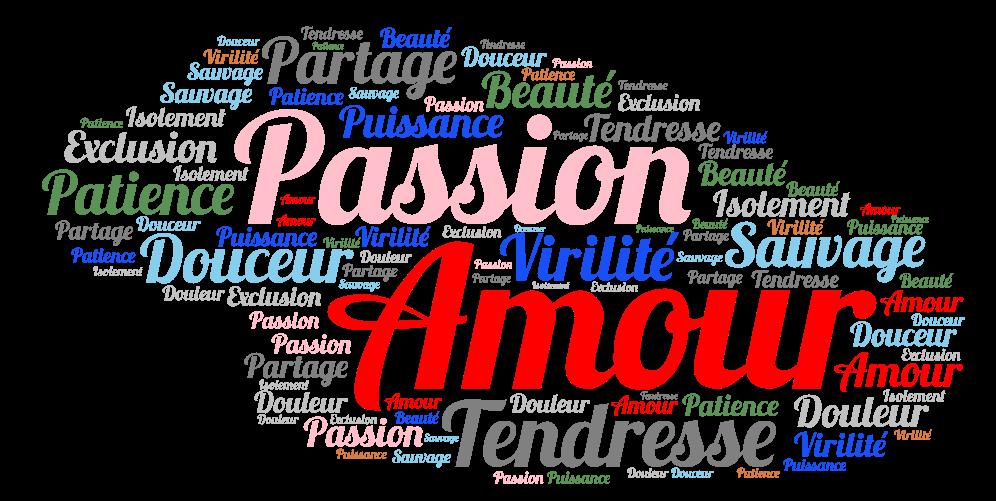 Amour Passion Tendresse Partage Sauvage Douceur Virilité Patience Puissance Beauté Exclusion Douleur Isolement